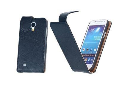 BestCases Luxe Kreukelleer Flipcase Hoesje voor Samsung Galaxy S4 Mini Blauw