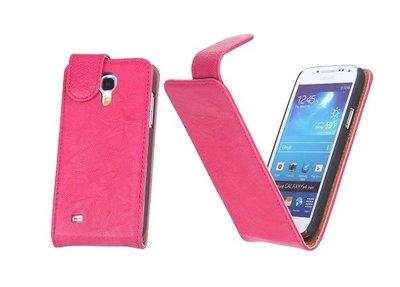BestCases Luxe Kreukelleer Flipcase Hoesje voor Samsung Galaxy S4 Mini Roze
