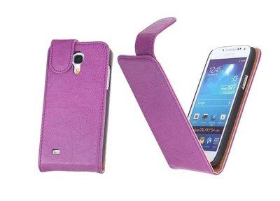 BestCases Luxe Kreukelleer Flipcase Hoesje voor Samsung Galaxy S4 Mini Paars
