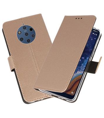 Wallet Cases Hoesje voor Nokia 9 PureView Goud
