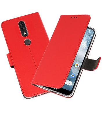 Wallet Cases Hoesje voor Nokia 4.2 Rood