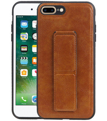 Grip Stand Hardcase Backcover voor iPhone 8 / 7 Plus Bruin