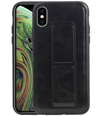 Grip Stand Hardcase Backcover voor iPhone XS / X Zwart