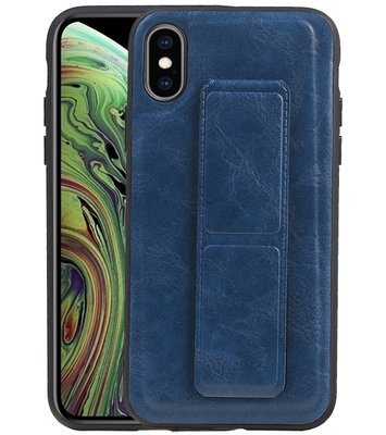 Grip Stand Hardcase Backcover voor iPhone XS / X Blauw