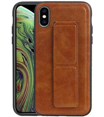 Grip Stand Hardcase Backcover voor iPhone XS / X Bruin