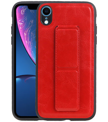 Grip Stand Hardcase Backcover voor iPhone XR Rood