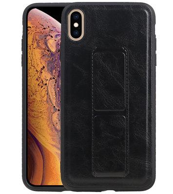 Grip Stand Hardcase Backcover voor iPhone XS Max Zwart