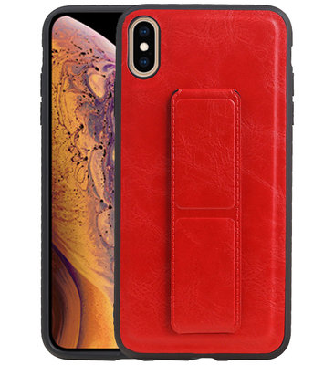Grip Stand Hardcase Backcover voor iPhone XS Max Rood