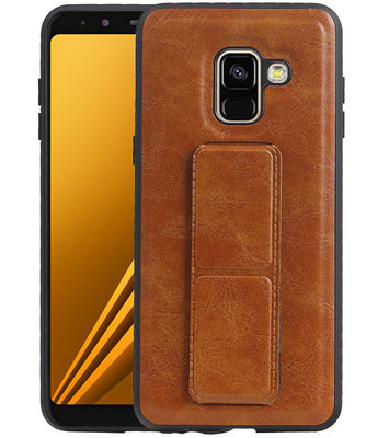 Grip Stand Hardcase Backcover voor Samsung Galaxy A8 Plus Bruin