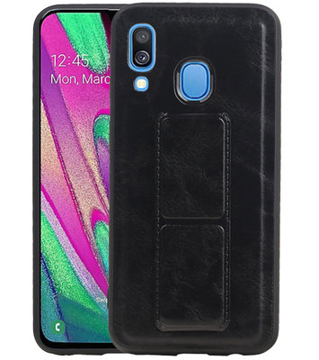 Grip Stand Hardcase Backcover voor Samsung Galaxy A40 Zwart