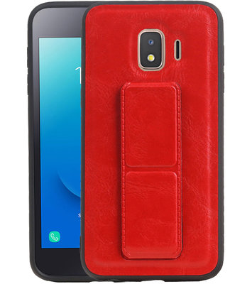 Grip Stand Hardcase Backcover voor Samsung Galaxy J2 Core Rood