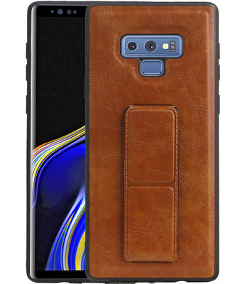 Grip Stand Hardcase Backcover voor Samsung Galaxy Note 9 Bruin