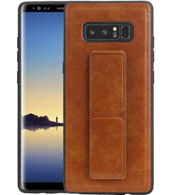 Grip Stand Hardcase Backcover voor Samsung Galaxy Note 8 Bruin