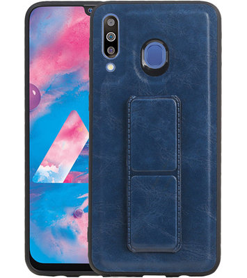 Grip Stand Hardcase Backcover voor Samsung Galaxy M30 Blauw