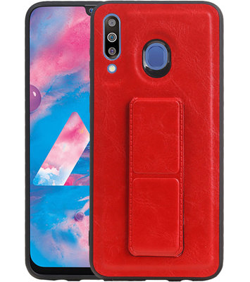Grip Stand Hardcase Backcover voor Samsung Galaxy M30 Rood