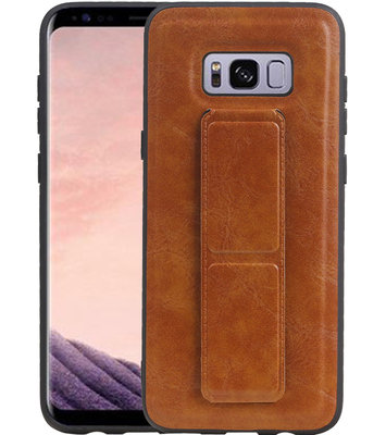 Grip Stand Hardcase Backcover voor Samsung Galaxy S8 Plus Bruin