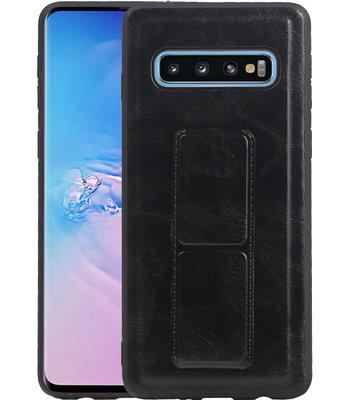 Grip Stand Hardcase Backcover voor Samsung Galaxy S10 Zwart