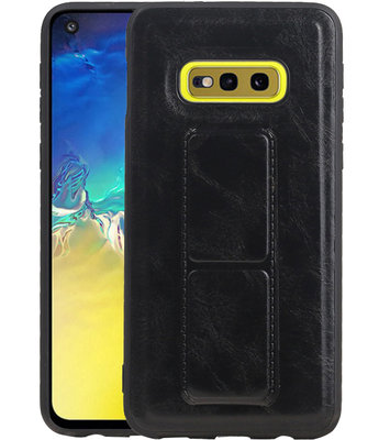 Grip Stand Hardcase Backcover voor Samsung Galaxy S10E Zwart