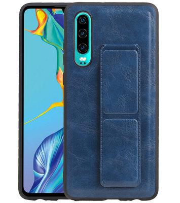 Grip Stand Hardcase Backcover voor Huawei P30 Blauw