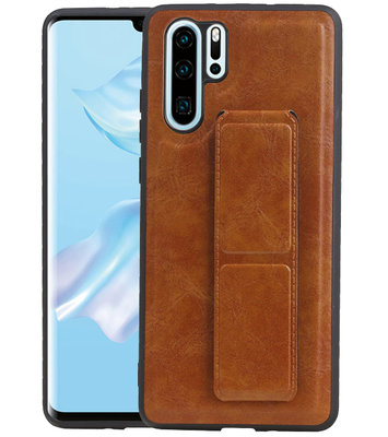 Grip Stand Hardcase Backcover voor Huawei P30 Pro Bruin