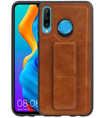 Grip Stand Hardcase Backcover voor Huawei P30 Lite / Nova 4E Bruin