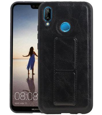 Grip Stand Hardcase Backcover voor Huawei P20 Lite Zwart