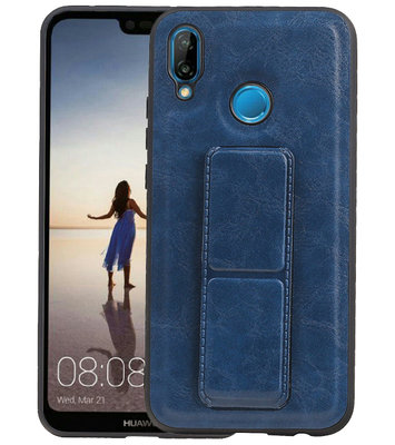 Grip Stand Hardcase Backcover voor Huawei P20 Lite Blauw