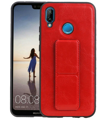 Grip Stand Hardcase Backcover voor Huawei P20 Lite Rood
