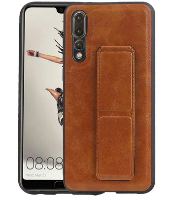 Grip Stand Hardcase Backcover voor Huawei P20 Pro Bruin