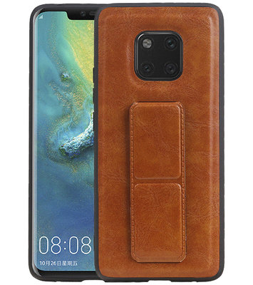 Grip Stand Hardcase Backcover voor Huawei Mate 20 Pro Bruin