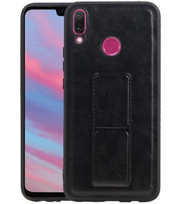 Grip Stand Hardcase Backcover voor Huawei Y9 (2019) Zwart
