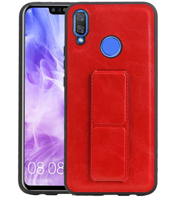 Grip Stand Hardcase Backcover voor Huawei Nova 3 Rood