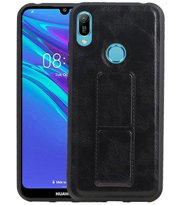 Grip Stand Hardcase Backcover voor Huawei Y6 / Y6 Prime 2019 Zwart