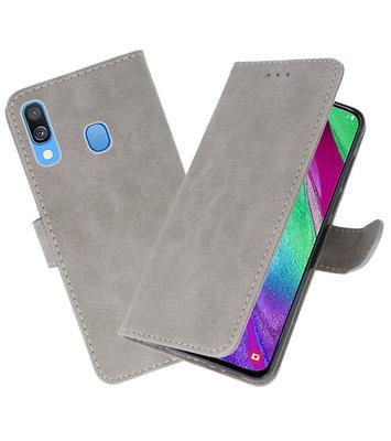 Bookstyle Wallet Cases Hoesje voor Samsung Galaxy A40 Grijs