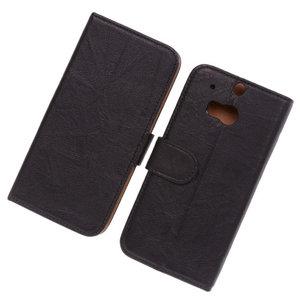 Polar Echt Lederen Zwart Hoesje voor HTC One M8 Bookstyle Wallet