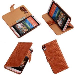 Slang Bruin HTC Desire 820 Book/Wallet Case Hoesje