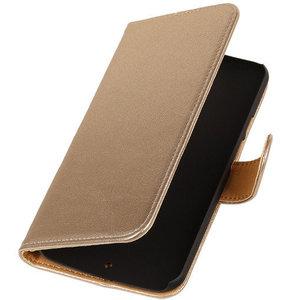 PU Leder Goud Hoesje voor HTC Desire Eye Book/Wallet Case/Cover