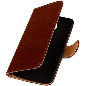PU Leder Bruin Hoesje voor HTC Desire Eye Book/Wallet Case/Cover
