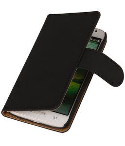HTC Desire 820 Effen Booktype Wallet Hoesje Zwart