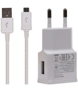 Micro USB 2.1 Ampere Telefoon Oplader en Kabel - Wit
