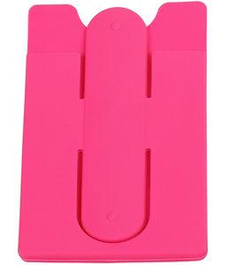 Roze TPU pashouder / kaarthouder met stand functie