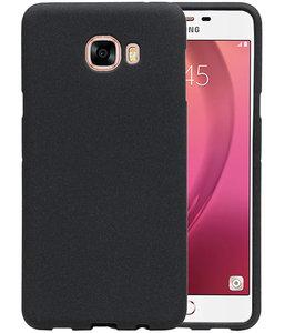 Zwart Zand TPU back case cover hoesje voor Samsung Galaxy C7