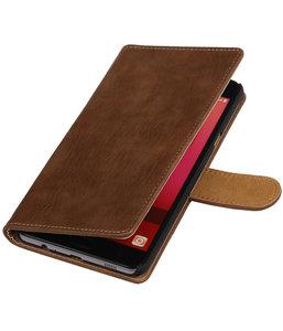 Bruin Hout booktype wallet cover hoesje voor HTC Desire 830