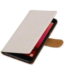 Wit Krokodil booktype wallet cover hoesje voor Samsung Galaxy C7
