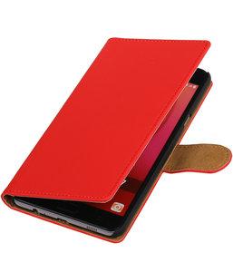 Rood Effen booktype wallet cover hoesje voor Samsung Galaxy C7