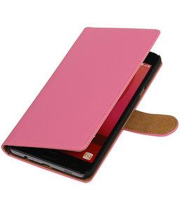 Roze Effen booktype wallet cover hoesje voor Samsung Galaxy C7