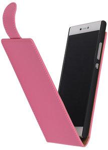 Roze Effen Classic Flip case hoesje voor Nokia Lumia 720