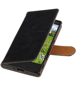 Zwart Pull-Up PU booktype wallet cover hoesje voor Sony Xperia XZ