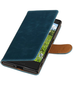 Blauw Pull-Up PU booktype wallet cover hoesje voor Sony Xperia XZ