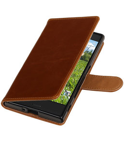 Bruin Pull-Up PU booktype wallet cover hoesje voor Sony Xperia XZ